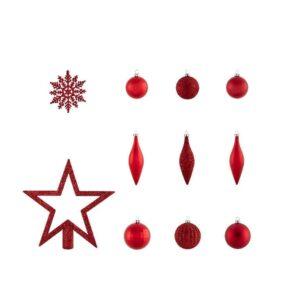 Set Varf de Brad si Globuri Rosii - 50 Decoratiuni