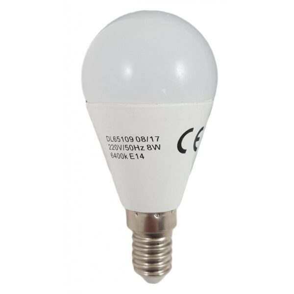 led-ieftin.ro Bec Led Sferic E14 8W 220V 6400K G45 Lumina Rece