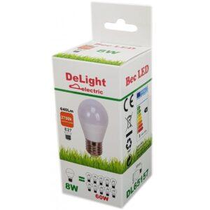 Bec Led Sferic E27 8W 220V 6400K G45 Lumina Rece
