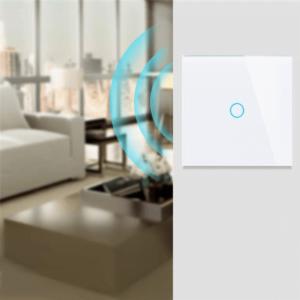 Intrerupator touch simplu WI-FI sticla securizata alb