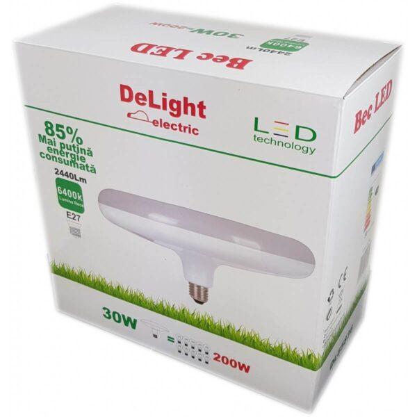 Bec Led UFO E27 30W 220V 6400K Lumina Rece