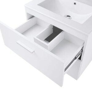 Baza mobilier suspendat cu Lavoar ceramic si oglinda cu iluminare GoodHome Slapton 60 cm, alb
