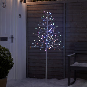 Brad decorativ alb, LED-uri multicolore