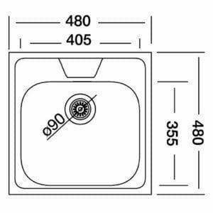 Chiuveta inox patrata, 48x48cm