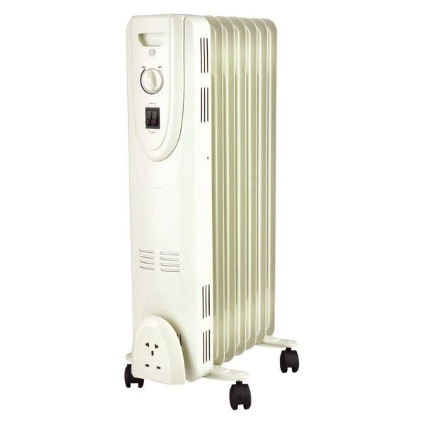 Radiator cu ulei, 7 elementi, putere 1500 W, alb, termostat reglabil
