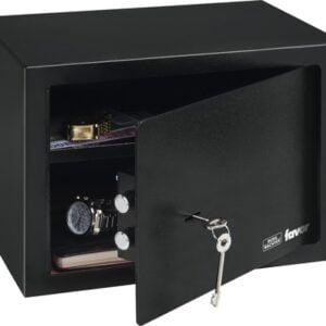 Seif cu cheie Burg Wachter, negru, otel, 2 chei pentru deschidere, 35 x 25 x 25 cm