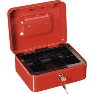 Cutie pentru bani Burg Wachter, rosie, 5 compartimente, 20x16x9 cm