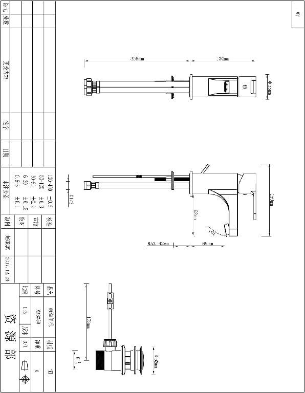 Baterie lavoar Cooke & Lewis Arsuz, monocomanda, diamentru cartus 35 mm