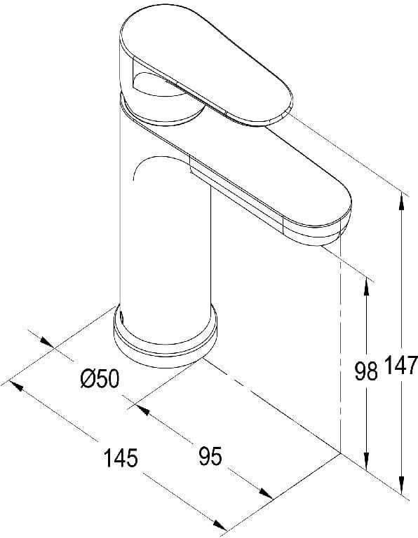 Baterie lavoar Cooke & Lewis Piana, monocomanda, diamentru cartus 35 mm