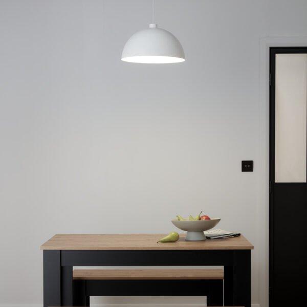 Pendul sfera GoodHome Songor, alb, 1xE27, 60W, cablu reglabil, design modern