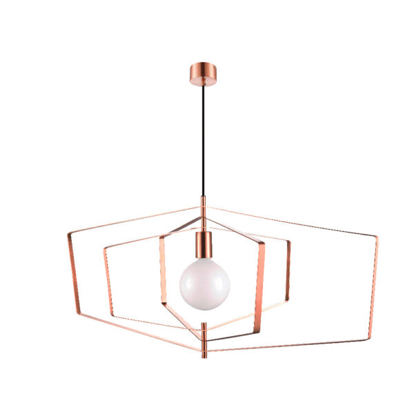 Pendul sfera GoodHome Nedoki, aramiu, 1xE27, cablu reglabil, design modern, efect de cupru