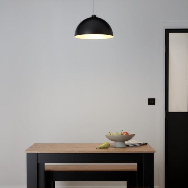 Pendul sfera GoodHome Songor, negru, 1xE27, 60W, cablu reglabil