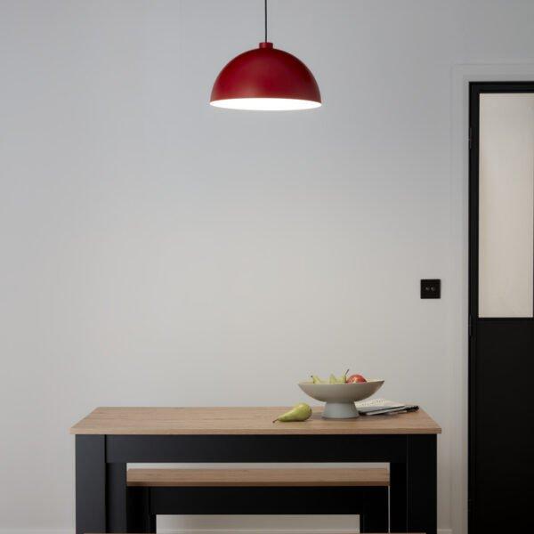 Pendul sfera GoodHome Songor, rosu, 1xE27, 60W, cablu reglabil, design modern