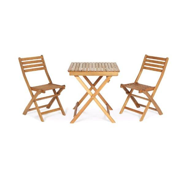 Set de 2 scaune si masa Virginia Wooden, pentru gradina, balcon sau terasa