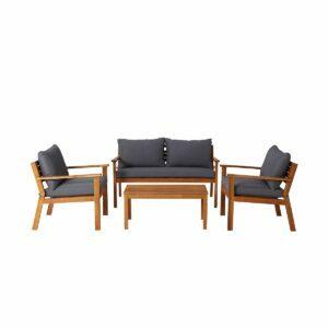 Set mobilier gradina modular Denya, lemn, canapea cu masa cafea si 2 fotolii