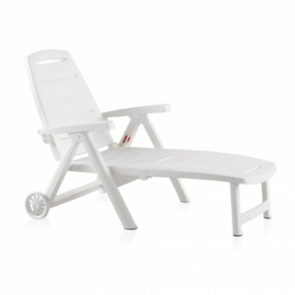 Sezlong de plaja cu roti Antibes, alb, 190 x 74 x 80 cm