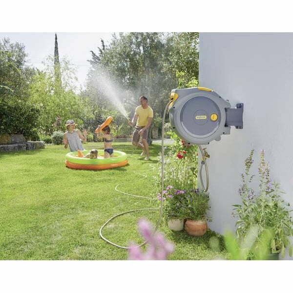 Tambur cu derulator automat de furtun cu montare pe perete, Hozelock, Plastic, 30 m, Gri